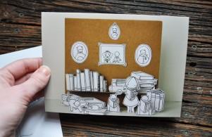 Paper cut diorama card by Cara Carmina; image copyright Erin Torrance