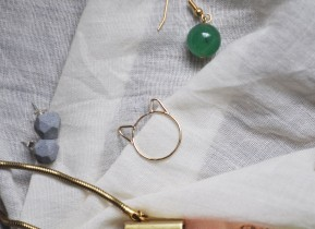 Choupette kitten ring by Foe and Dear, turquoise earrings by Compliment, cement studs by Dconstruct, and necklace by Nylon Sky; image copyright Erin Torrance