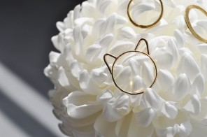 Choupette kitten ring by Foe and Dear (foreground) and stacking rings by White Feather Designs; image copyright Erin Torrance